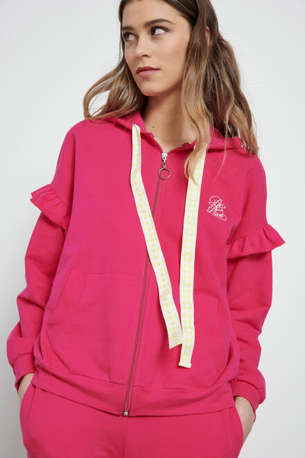 Cardigan with hood - Fuchsia S