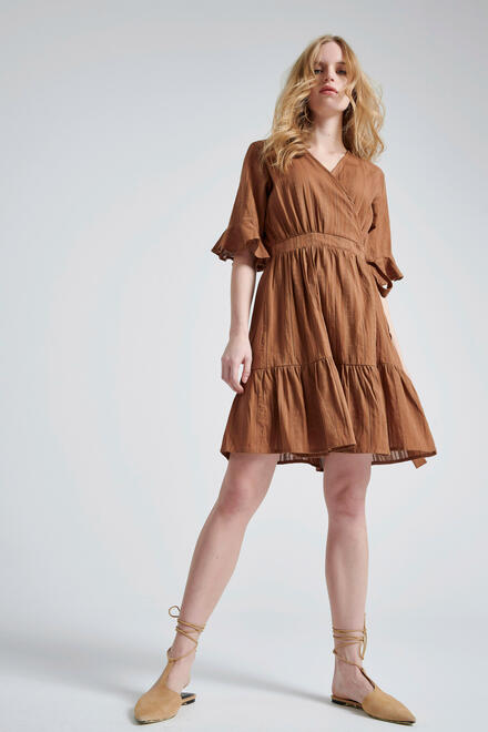 Patterned  dress - Brown S