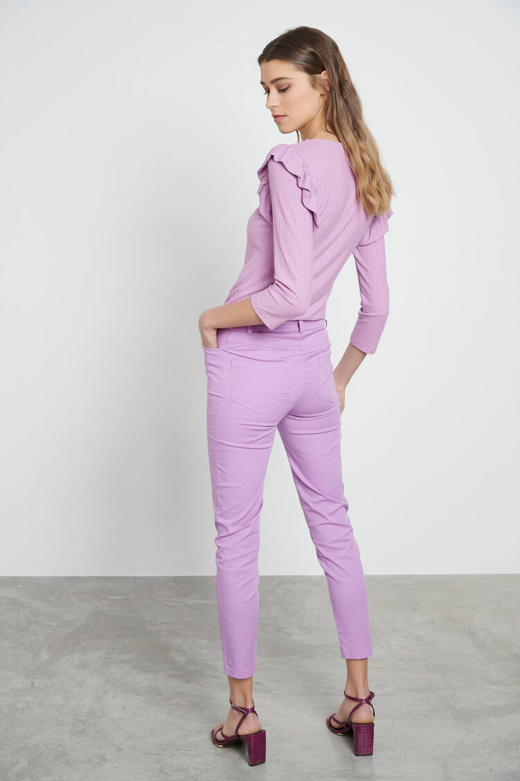 Straight ankle pants - Purple XS