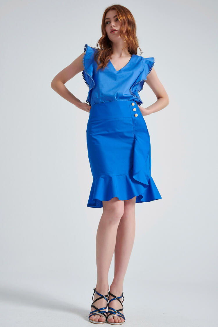 Skirt with ruffles - Electric Blue XS