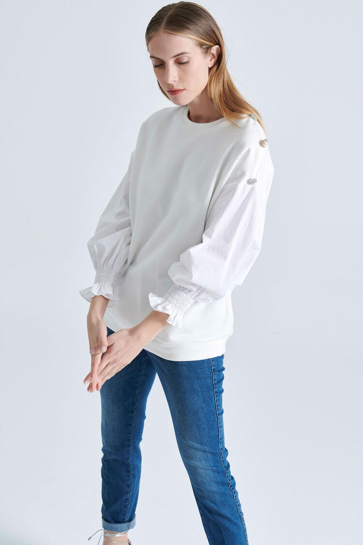 Sweatshirt - WHITE S