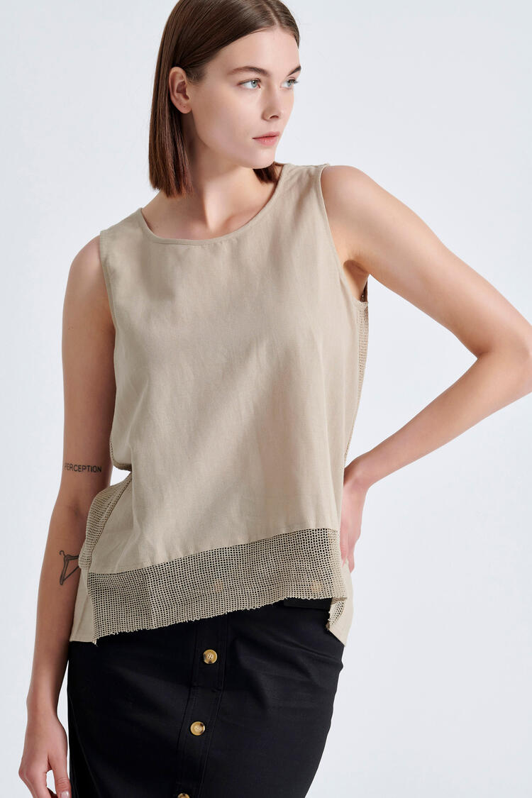 Blouse with a combination of fabrics - Beige S