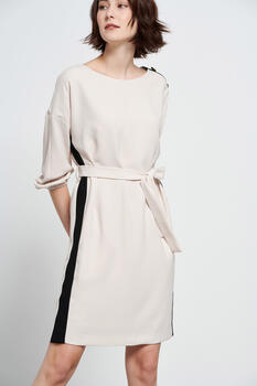 Two-tone dress with decorative buttons on the shoulder - Beige S