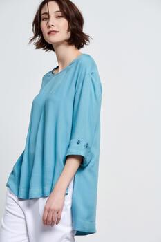 Blouse with 3/4 sleeves - Blue S
