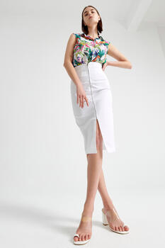 High-waisted skirt with zipper at the front - WHITE S