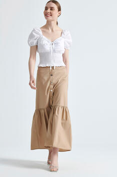 Maxi skirt with studs - Beige S