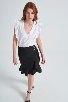 Skirt with ruffles - Black XS