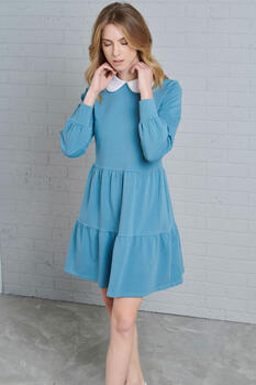 Dress with colar - LIGHT BLUE S